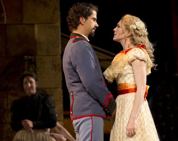 Hamish Linklater and Lily Rabe star as Benedick and Beatrice in William Shakespeare's Much Ado About Nothing, directed by Jack O'Brien, at the Delacorte Theater in Central Park.