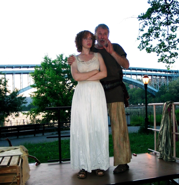 Father-daughter drama plays out in front of the Henry Hudson Bridge in Moose Hall Theatre Company's production of The Tempest, starring Samantha Bruce and Mitch Tebo.