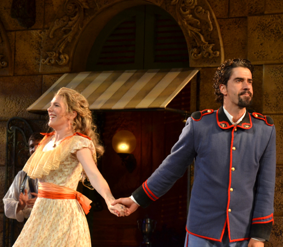 Lily Rabe and Hamish Linklater take their bows on the opening night of Much Ado About Nothing at the Delacorte Theater.