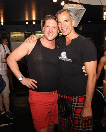 Christopher Sieber (l) with Broadway Bares founder Jerry Mitchell.