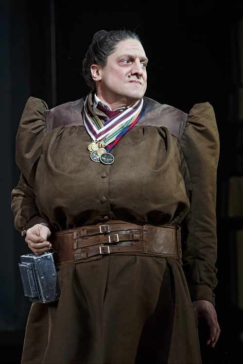 Christopher Sieber as Miss Trunchbull in Matilda, directed by Matthew Warchus, at Broadway's Shubert Theatre.