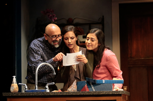 Bernard White as Afzal and Tala Ashe and Nadine Malouf as his daughters in Ayad Akhtar's The Who & the What, directed by Kimberly Senior, at LCT3's Claire Tow Theater.