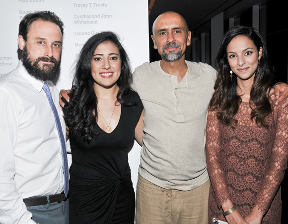 Company members Greg Keller, Nadine Malouf, Bernard White, and Tala Ashe celebrate their opening night at the Claire Tow Theater.