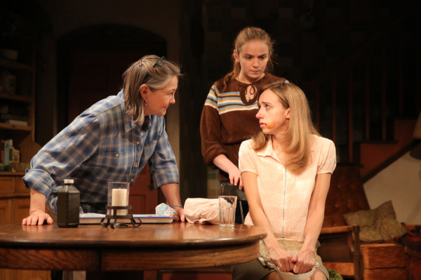 Cherry Jones as Agnes, Morgan Saylor as Penny, and Zoe Kazan as Mary Anne in Sarah Treem's When We Were Young and Unafraid, directed by Pam MacKinnon, at Manhattan Theatre Club's New York City Center — Stage I.
