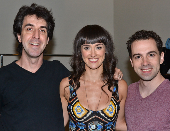 Honeymoon in Vegas composer/lyricist Jason Robert Brown with his show's stars, Brynn O'Malley and Rob McClure.