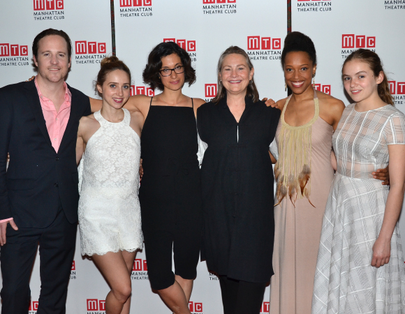 Playwright Sarah Treem (center) joins her cast for an opening night photo.