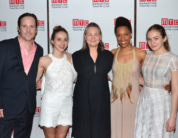 The cast of When We Were Young and Unafraid: Patch Darragh, Zoe Kazan, Cherry Jones, Cherise Boothe, and Morgan Saylor.