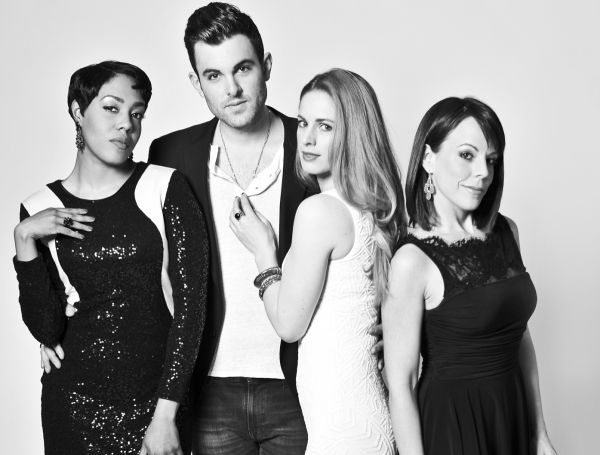 Zak Reznik, who stars as songwriter Bert Berns, is flanked by his leading ladies de'Adre Aziza, Teal Wicks, and Leslie Kritzer.