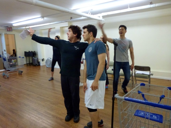 Christopher Sutton, David Spadora, and Karl Josef Co rehearse a scene from Rowen Casey's Valueville, directed by Donna Lynne Champlin, for the New York Musical Theatre Festival.