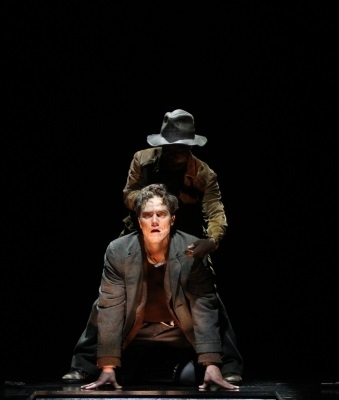 Michael Shannon as Berenger and Ryan Quinn as The Killer in Theatre for a New Audience's production of Eugène Ionesco's The Killer, directed by Darko Tresnjak, at Brooklyn's Polonsky Shakespeare Center.