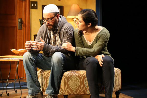 Greg Keller and Nadine Malouf star in Ayad Akhtar's The Who & the What, directed by Kimberly Senior, at LCT3's Claire Tow Theater.