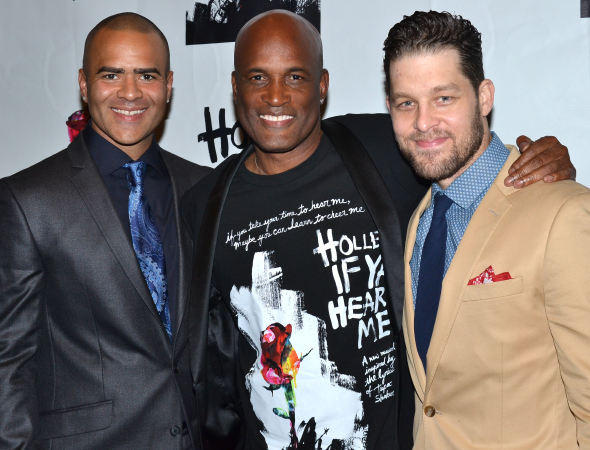 Tony-winning director Kenny Leon joins his Holler If Ya Hear Me stars Christopher Jackson (left) and Ben Thompson (right) for an opening-night photo.