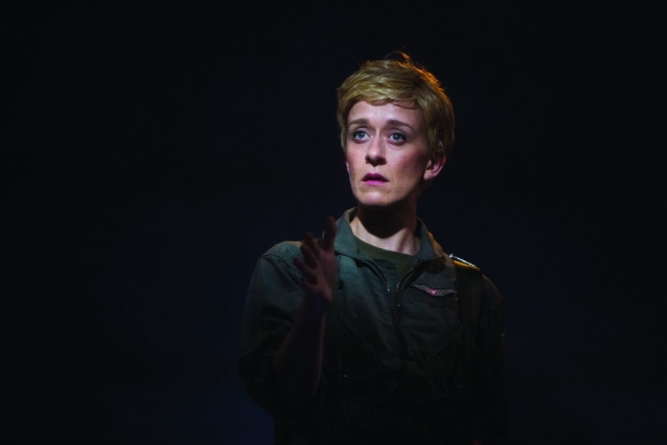 Lucy Ellinson as The Pilot in George Brant's Grounded, directed by Christopher Haydon, at Studio Theatre.