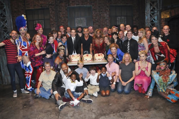 The cast of Kinky Boots gathers backstage at the Al Hirschfeld Theatre on June 19.