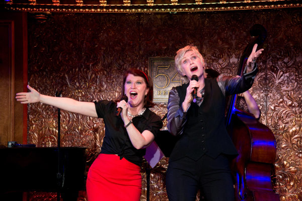 Kate Flannery and Jane Lynch belt out a number for Lynch's cabaret debut at 54 Below.