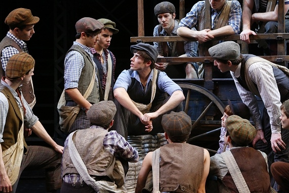 Corey Cott as Jack Kelly with the cast of Newsies at Broadway's Nederlander Theatre.