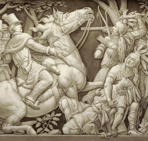 The death of Tecumseh is depicted on the Frieze of American History that surrounds the United States Capitol rotunda.