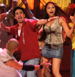 Lin-Manuel Miranda and Karen Olivo as Usnavi and Vanessa in the Broadway production of In the Heights.