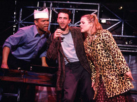 Jerry Dixon, Raúl Esparza, and Amy Spanger in the 2001 off-Broadway premiere of Jonathan Larson's tick, tick...BOOM!
