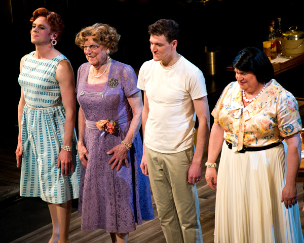 Nick Westrate, John Cullum, Gabriel Ebert, and Tom McGowan take a bow in Harvey Fierstein's Casa Valentina, directed by Joe Mantello, at Manhattan Theatre Club's Samuel J. Friedman Theatre on Broadway.