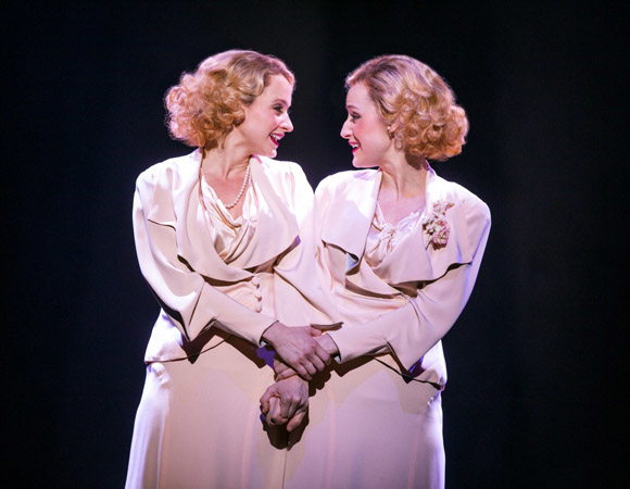 Emily Padgett as Daisy Hilton and Erin Davie as Violet Hilton in Side Show, directed by Bill Condon, at the Kennedy Center.