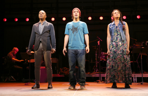 Leslie Odom, Jr., Lin-Manuel Miranda, and Karen Olivo in the New York City Center Encores! production of Jonathan Larson's tick, tick...BOOM!
