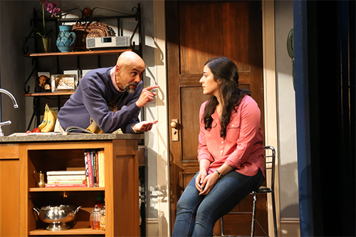Bernard White and Nadine Malouf in Ayad Akhtar's The Who & The What, directed by Kimberly Senior, at LCT3's Claire Tow Theater.