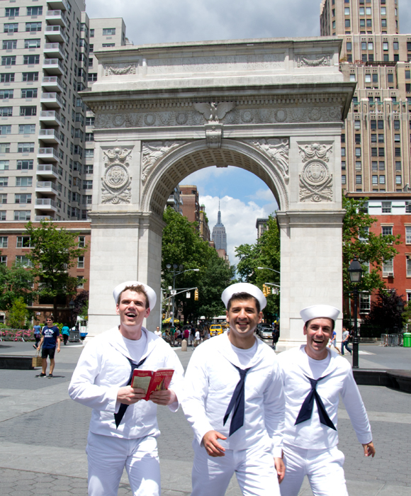 Jay Armstrong Johnson, Tony Yazbeck, and Clyde Alves hit Washington Square Park as they film a promo video for the upcoming Broadway revival of On the Town.