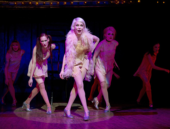 "Michelle Williams as Sally Bowles and the Kit Kat Klub girls perform ""Don't Tell Mama."""