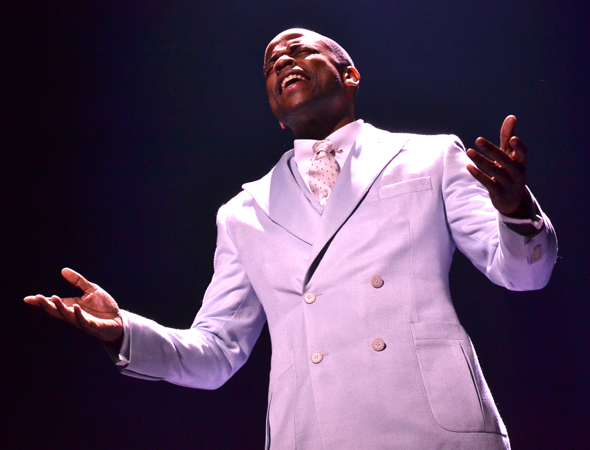 "Dulé Hill stars as ""The Host"" in Broadway's After Midnight at the Brooks Atkinson Theatre."