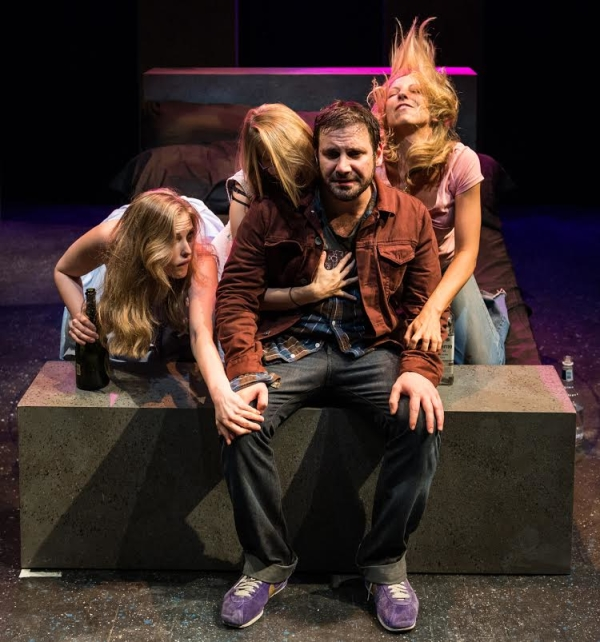 Samantha Strelitz as Cara, Mandy Nicole Moore as Kimmy, Derek Ahonen as Douglas, and Kelley Swindall as Jessica in Ahonen's The Qualification of Douglas Evans.