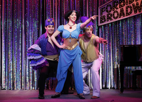 Marcus Stevens, Mia Gentile, and Scott Richard Foster in a scene from Gerard Alessandrini's Forbidden Broadway Comes Out Swinging!.