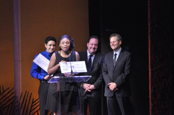 Jai' Len Josey accepts her National High School Musical Theater Award onstage at the Minskoff Theatre.