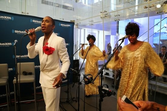 Anthony Wayne, Anastacia McCleskey, and Jacqueline B. Arnold perform from Mighty Real: A Fabulous Sylvester Musical at Sirius XM studios.