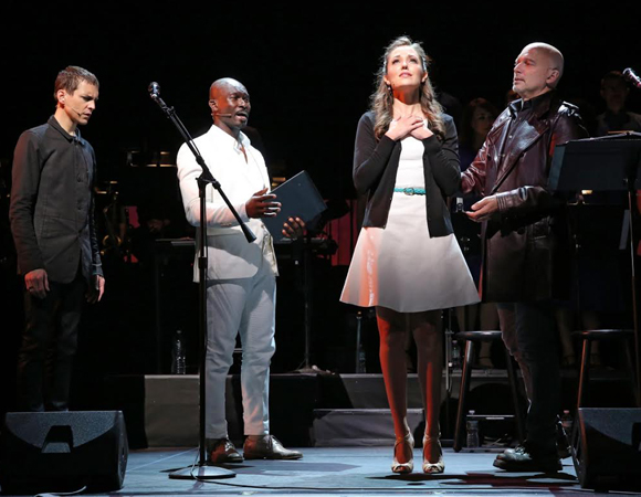 Tony Vincent, Isaiah Johnson, Laura Osnes, and Michael Cerveris the Encores! Off-Center production of Randy Newman's Faust the Concert.