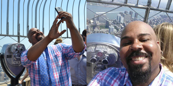 James Monroe Iglehart takes a selfie at the top of the Empire State Building.