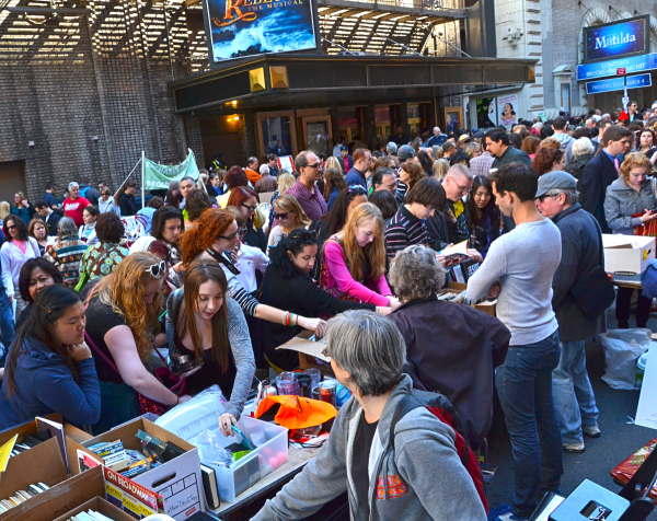 Theater fans rummage through Broadway treasures at the Broadway Flea Market.