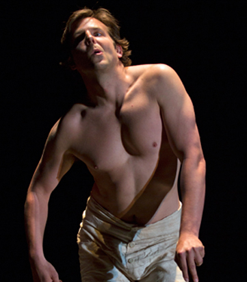 Bradley Cooper as John Merrick in Scott Ellis' production of Bernard Pomerance's The Elephant Man at Williamstown Theatre Festival in 2012.