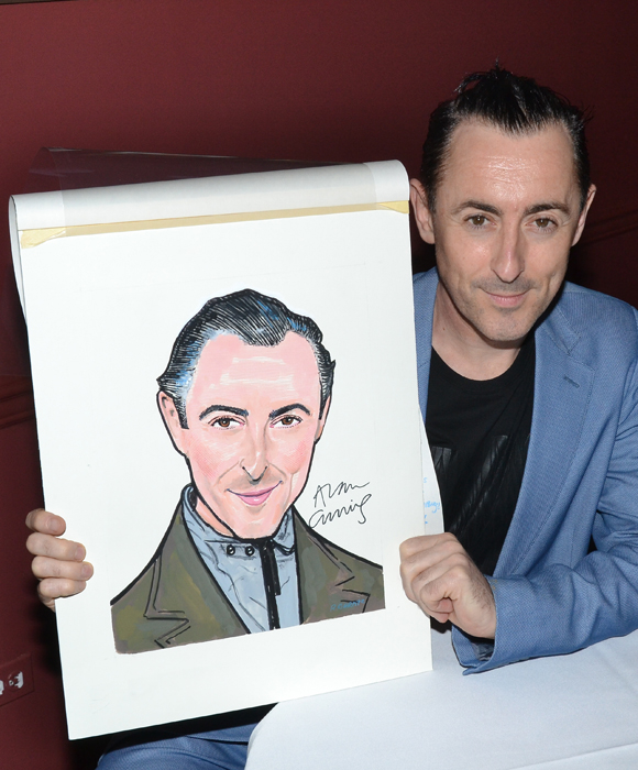 Alan Cumming and his Sardi's caricature.