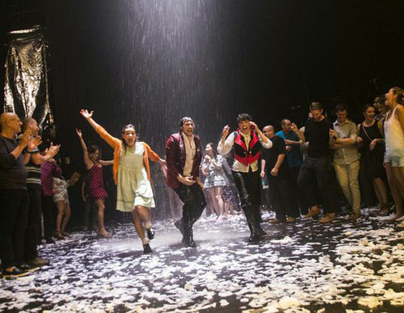 A dance party in the rain at the Daryl Roth Theatre as part of Wayra's grand finale.