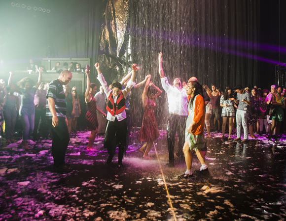 Curtain call at Wayra: Fuerza Bruta at the Daryl Roth Theatre.