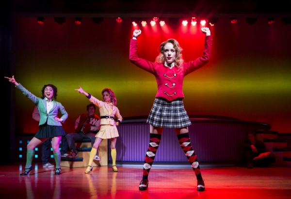 Alice Lee, Elle McLemore, and Jessica Keenan Wynn in Heathers: The Musical, directed by Andy Fickman, at New World Stages.