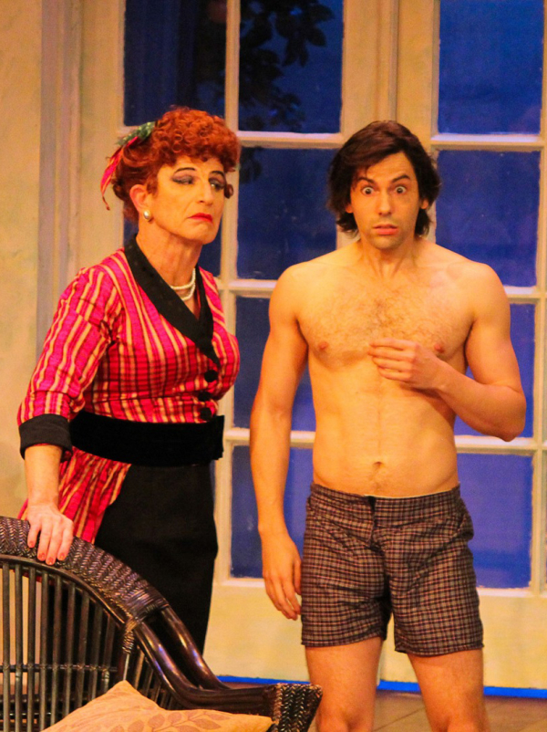 Everett Quinton plays wealthy spinster Idris Seabright and Jason Cruz plays Cuban émigré Ricky in Drop Dead Perfect.