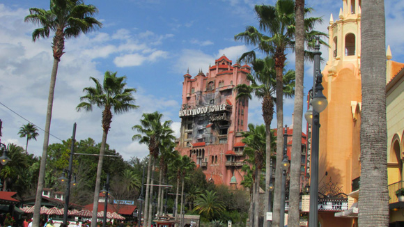 The Hollywood Tower of Terror looms over Disney's Hollywood Studios, beckoning guests inside for an immersive theatrical thrill ride.