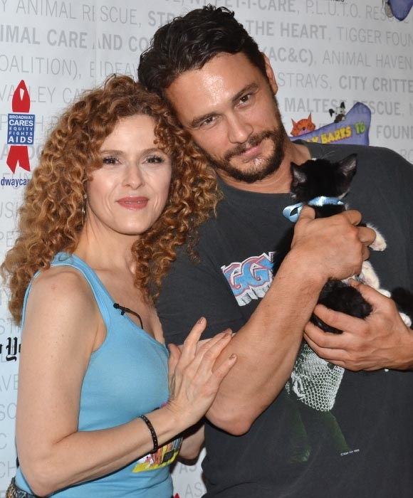Bernadette Peters, James Franco, and a kitty named Totes McGotes take part in the 16th annual Broadway Barks in Shubert Alley on Saturday, July 12.