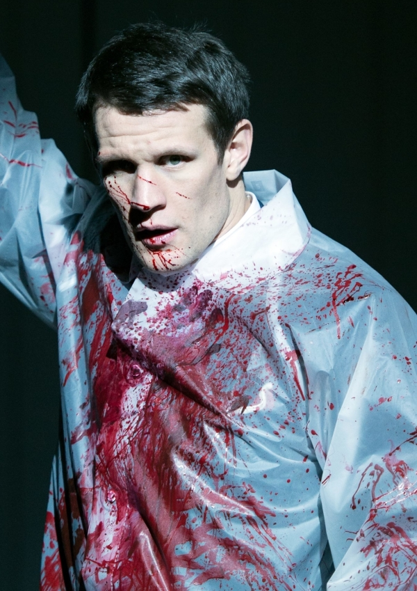 Matt Smith as Patrick Bateman in the London production of Duncan Sheik and Roberto Aguirre-Sacasa's American Psycho, directed by Rupert Goold, at the Almeida Theatre.