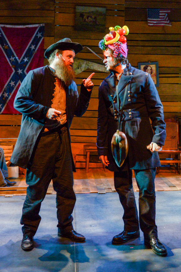 Paul Whitty and Michael Abbott, Jr. star in Bayonets of Angst, directed by Michael Lluberes, at The Pershing Square Signature Center as part of the 2014 New York Musical Theatre Festival.