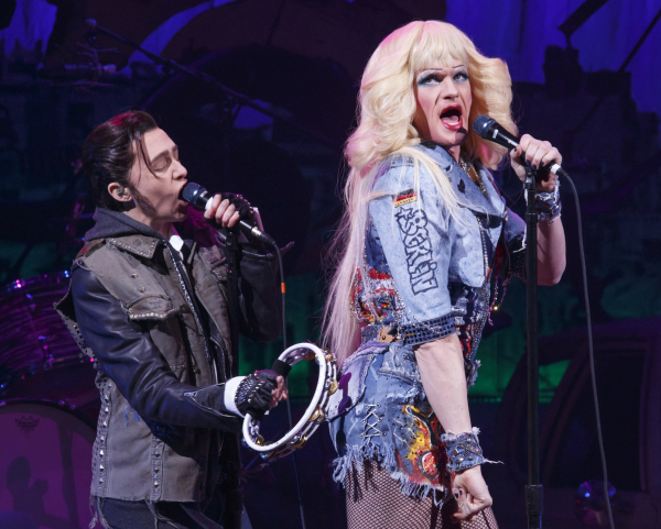 Neil Patrick Harris and Lena Hall as Hedwig and Yitzak in Michael Mayer's revival of Hedwig and the Angry Inch at the Belasco Theatre.