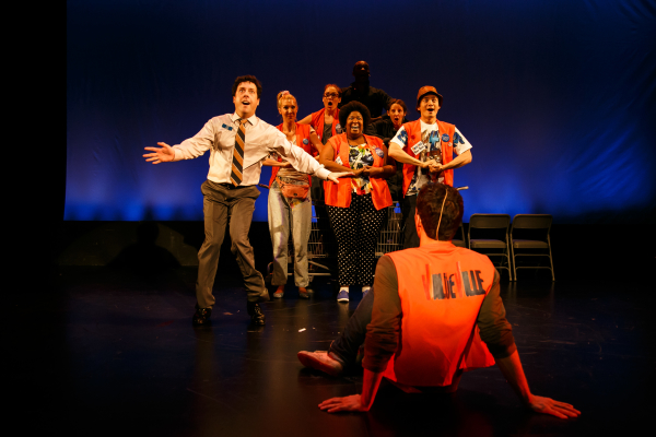 The cast of Rowen Casey's ValueVille, directed by Donna Lynne Champlin, at the PTC Performance Space, as part of the 2014 New York Musical Theatre Festival.