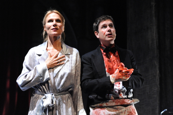 Pamela J. Gray as Gertrude and David Barlow as Hamlet in Potomac Theatre Project's production of Howard Barker's Gertrude — The Cry, directed by Richard Romagnoli, at Atlantic Stage 2.